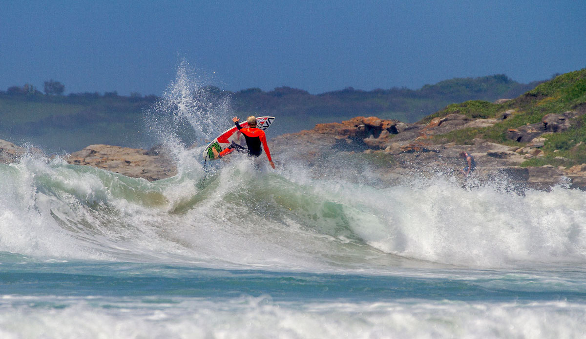 "Luke Malherbe boosting at a beachy 5 minutes down the road.  Photo: <a href=""https://www.facebook.com/pages/Pho-Tye-Studio/398591356893177?fref=nf\""> Tyerell Jordaan</a>"