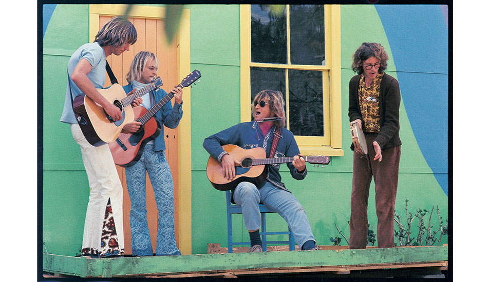 The opening of Neverland – c. 1972 Friends opened a shop in the main street of Byron Bay selling clothes that they made. This was either late 1972 or early '73, and music for the launch was provided by Garth Murphy, John Adrian, Rusty Miller and Jimmy Sunshine. Photo: Witzig