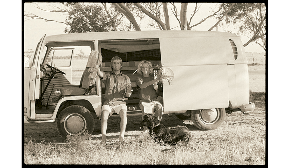 """Christmas Day, Hay 1970 My friend Nigel Coates and I were on our way across the country, heading to Margaret River in Western Australia. I liked the adventures just as much as the surfing.  Photo: <a href=\""""http://www.johnwitzig.com.au/\"""">John Witzig</a>"""