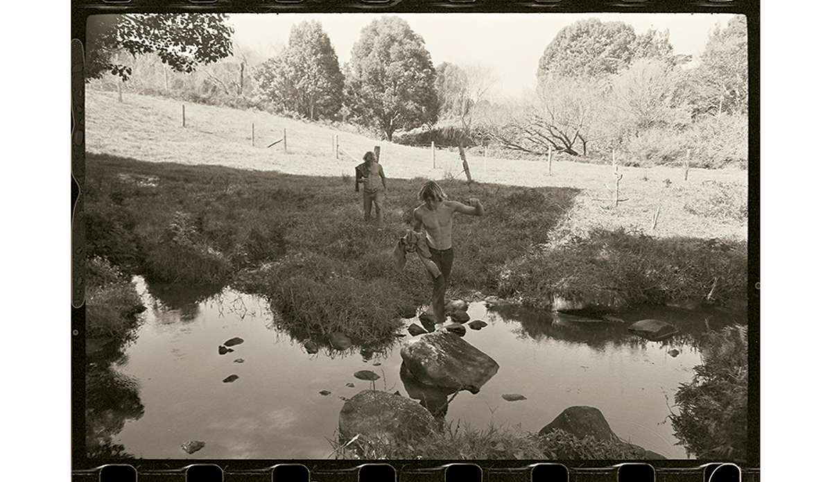 """Arcadia 1969 I was trying to take pictures that said something about the times. This is Wayne Lynch and Bob McTavish at the beautifully-named Possum Creek in the hills behind Byron Bay.   Photo: <a href=\""""http://www.johnwitzig.com.au/\"""">John Witzig</a>"""