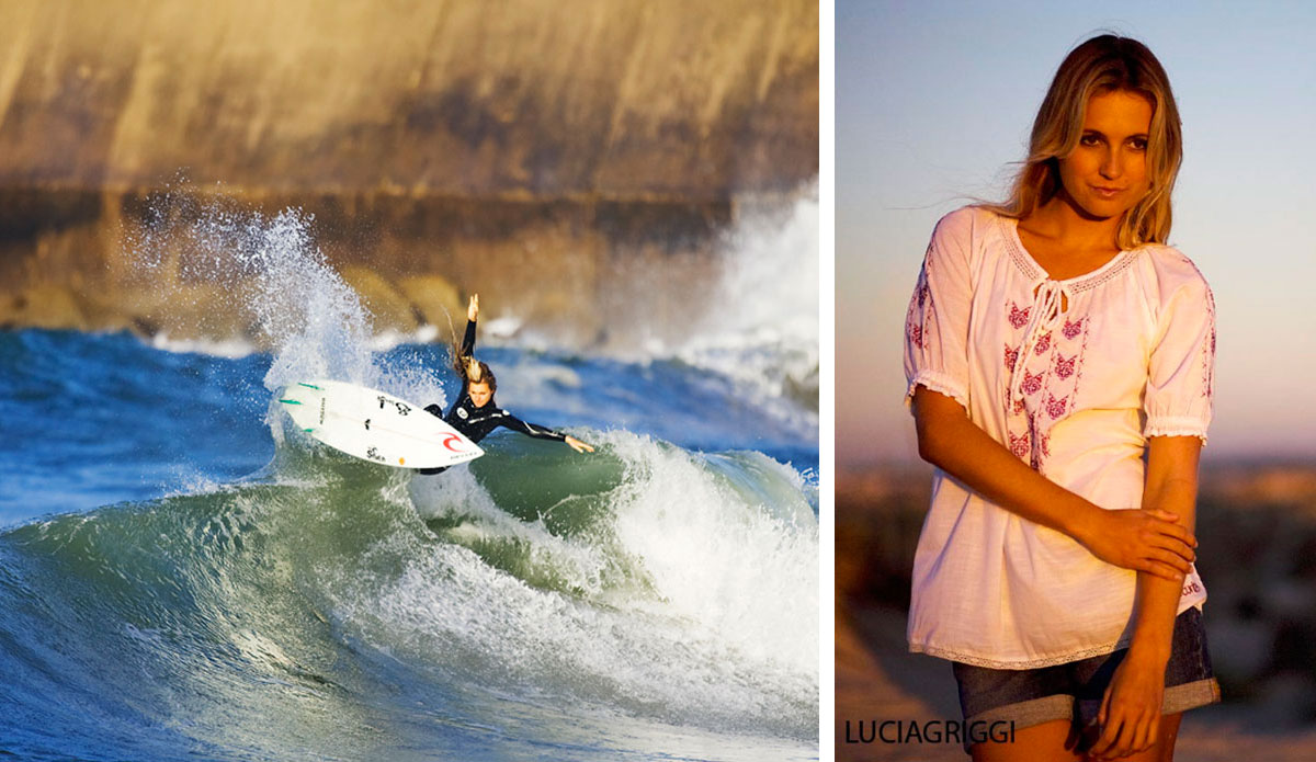 Don't hate Alana Blanchard because the camera loves her. At one point the publisher asked if the book could pull back on all the talk of sex and sexism and sexy marketing - but that is an issue almost all of these women have dealt with: Market themselves as surfers and make X dollars, or market themselves as healthy models and make bank. Alana Blanchard is a prime example of that. Her fellow surfers defend her and emphasize the fact that she can surf. The modeling thing is just an avenue to more water time. Action and portrait: Lucia Griggi.
