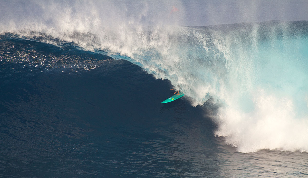 Two winters ago, Paige Alms pulled into a big barrel at Peahi and made it look good. That was a big deal at the time, but she has gone onto bigger and better things since - like winning the women's division of the 2016 Peahi Challenge and the Women's Best Performance Award at the 2017 WSL XXL Awards. Photo: Erik Aeder.