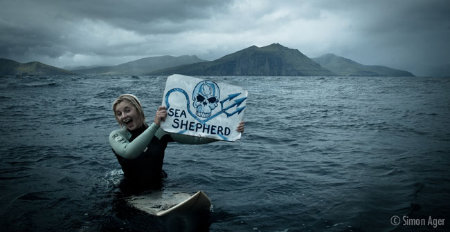 Natalie protests the Grind and killing of Faroese Pilot Whales with Sea Sheperd.
