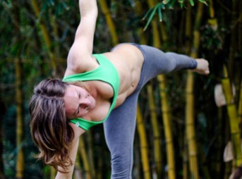 Rochelle Ballard demonstrates Half Moon, yoga for surfers