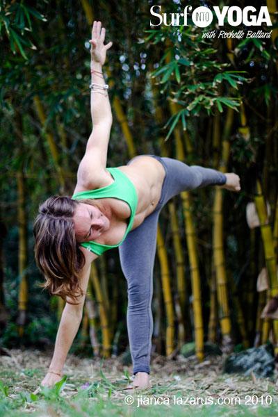 Rochelle Ballard demonstrates Half Moon, yoga for surfers
