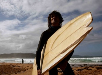 Derek Hynd and his finless surfboard