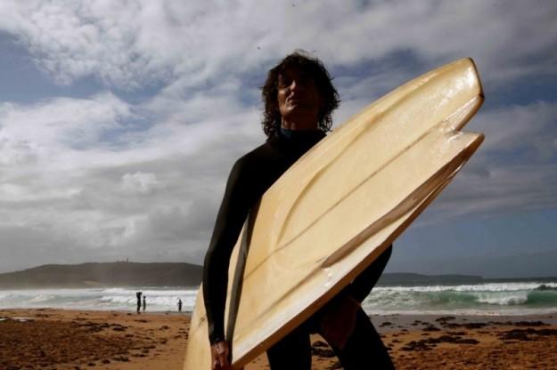 Derek Hynd and his finless surfboard