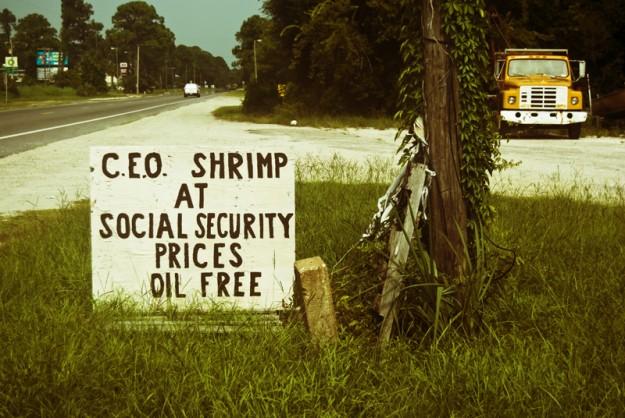 C.E.O. Shrimp at Social Security Prices Oil Free. Photo: Bardin