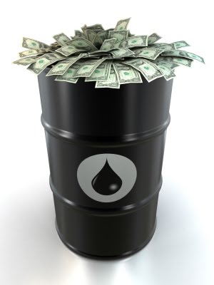 oil barrel and cash