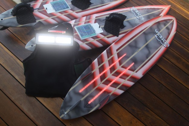 Mark Visser's tow-surf boards glowing with infrared technology.
