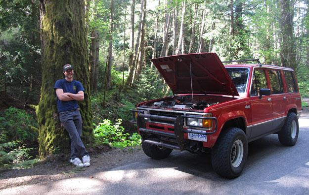 Broken Down Car in Woods