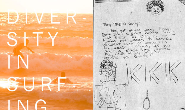 Palestinian and Israeli surfers find common ground in the lineup through a documentary by Alex Klein. A piece of hate mail delivered to Black Surfing Association president Tony Corley. Images: Klein (L), Corley (R)