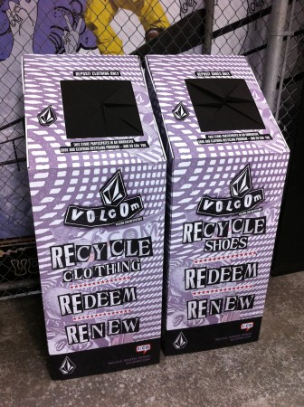 Volcom recycling bins.