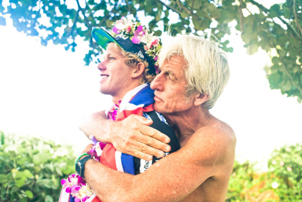 It would be difficult to find two people who are more universally lauded on the North Shore than John John Florence and Mark Cunningham. Photo: Justin Jay