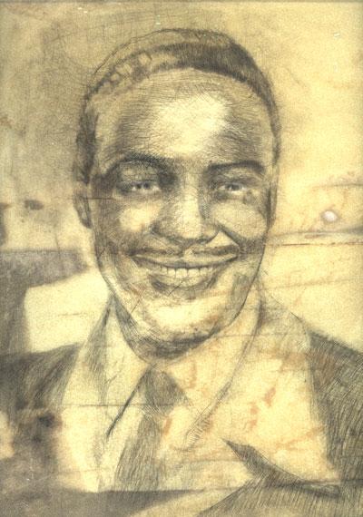 A portrait of Nick Gabaldon by artist Peter Spacek.