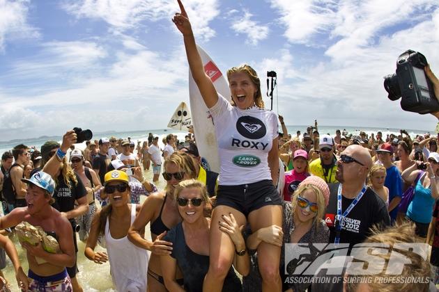 Steph Gilmore won the 2012 Roxy Pro Gold Coast