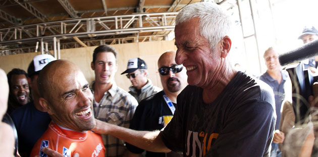 Mark Cunningham with good friend Kelly Slater after Slater's 11th World Title was announced. Photo: ASP/Kirstin