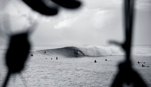 You know who that is in that heaving barrel? It's Tyler Wright. We rarely see shots like this one, and they're awesome. Photo: Clare Plueckhahn