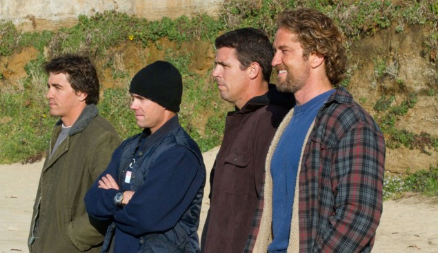 The boys assess the situation at Maverick's. (From Left) Greg Long, Zach Wormhoudt, Peter Mel, and Gerard Butler.