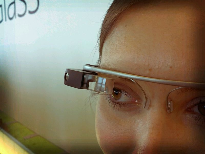 An up-close look at Google's Project Glass. Photo: Wikipedia/Antonio Zugaldia