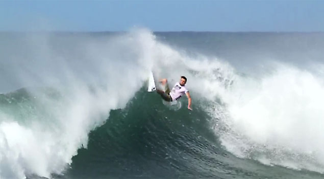 A frame grab from Dane Reynolds' layback heard round the world at the Reef Hawaiian Pro at Haleiwa.