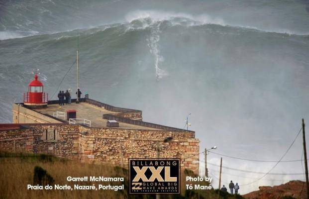 Garrett McNamara at Praia do Norte, Nazaré, Portugal earlier today. Photo by ©TOMANEPHOTOS/Billabong XXL
