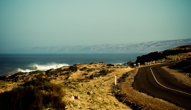 """""""Sorry, we're the only ones surfing here today."""" A Moroccan point that hasn't quite been tapped. Photo: Javier Munoz"""