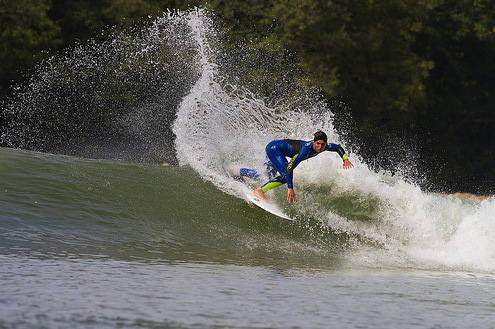 Brazilian superstar Gabriel Medina cracks one off the lip at Wavegarden in Basque Country, Spain.