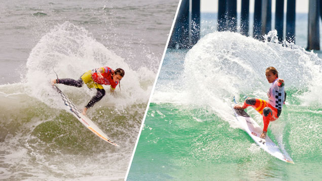 Courtney Conlogue and Carissa Moore battled to the final horn for the 2013 US Open of Surfing Championship. Photos: Michael Llalande