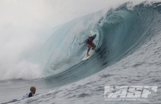 Slater can only watch as Ace threads another excellent tube on the way to his first win. Photo: ASP // Robertson