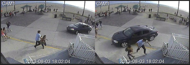 Here, security cameras capture the action. Photo: LA Times