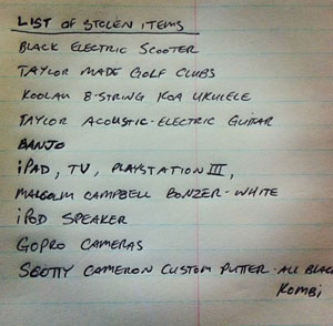 Kelly's list of stolen items from last year's robbery.