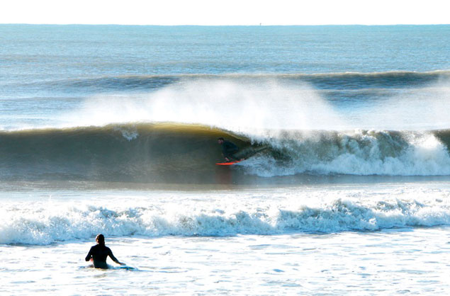 This was one of the most fun days of the winter so far: relatively warm water in the upper 50s, 3- to 5-foot barrels and light offshore winds. Here's one of me taking it all in. Photo: Daniel Brittain.