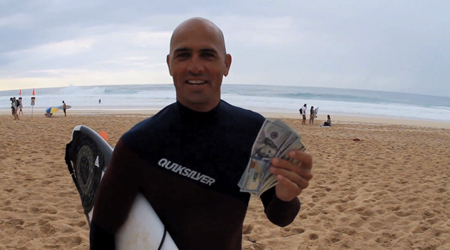 Of course he did. Kelly Slater snagged December's Wave of Winter People's Choice Award. Every month, viewers vote on the best wave ridden on the North Shore. Winner takes home $1000 and gets to rub it in the face of everyone else.