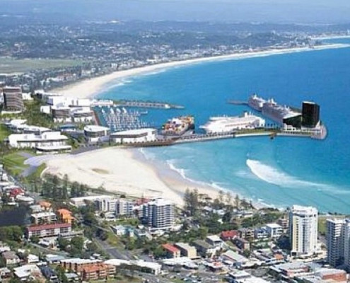 An artist's rendering of the proposed seaport at Kirra. Photo: Mick Fanning Instagram