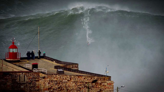 Garrett McNamara on the wave heard 'round the world during a cleaner Nazaré swell.
