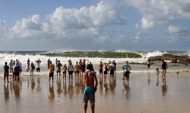 Excited fans watch Snapper Rocks do its thing. Photo: Kirstin Scholtz/ASP
