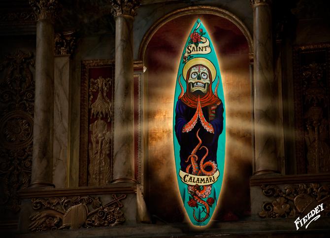 """Saint Calamari"" 2012. Aerosol and acrylic paint on surfboard. Photo: <a href=""http://www.fieldey.com/"">Fieldey</a>"