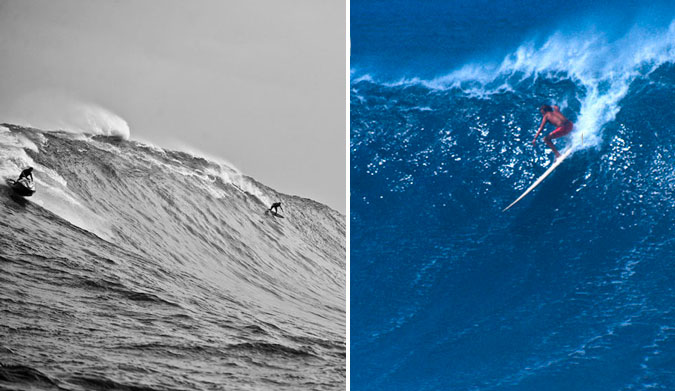 Safe to say that something was passed along, right? Laird Hamilton (L), and adoptive father Billy (R). Photos: (L) (R) Tim McCullough
