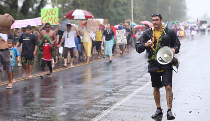 Mayoral candidate Dustin Barca leading an anti-GMO march. Photo: Courtesy of Change for Balance Productions