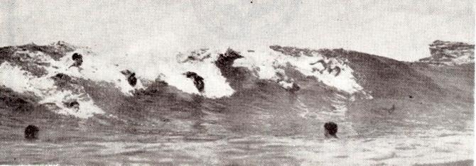 Bodysurfers circa 1912. Photo: Courtesy of Swell Lines Magazine