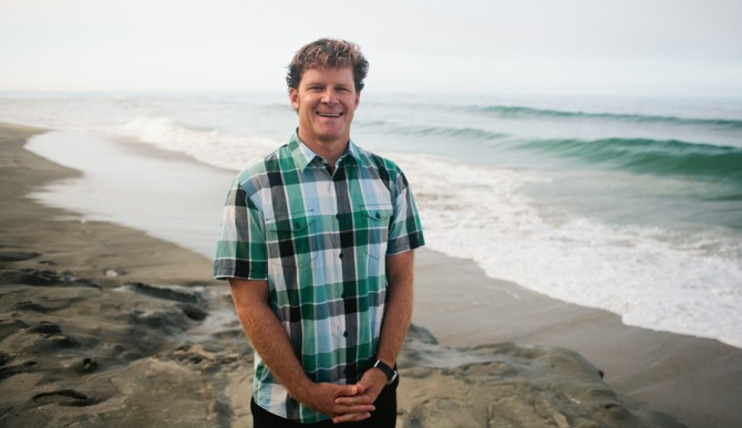 Chad Nelsen in front of the ocean
