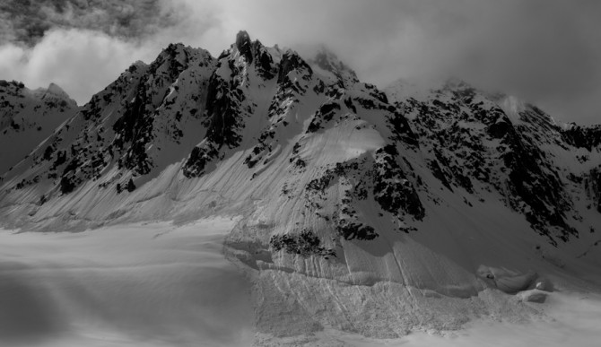 Debris from wet, loose avalanches in the Pika Glacier, Alaska in June 2014. Photo: Spencer James