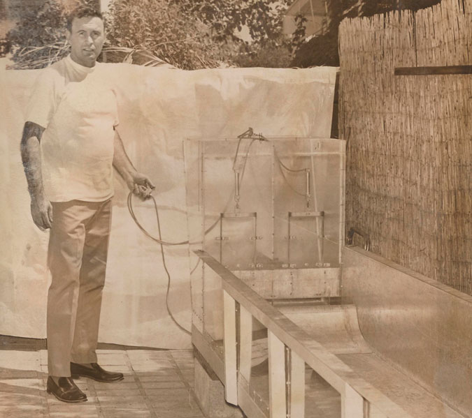 Phil Dexter at home with his second backyard wave pool model.