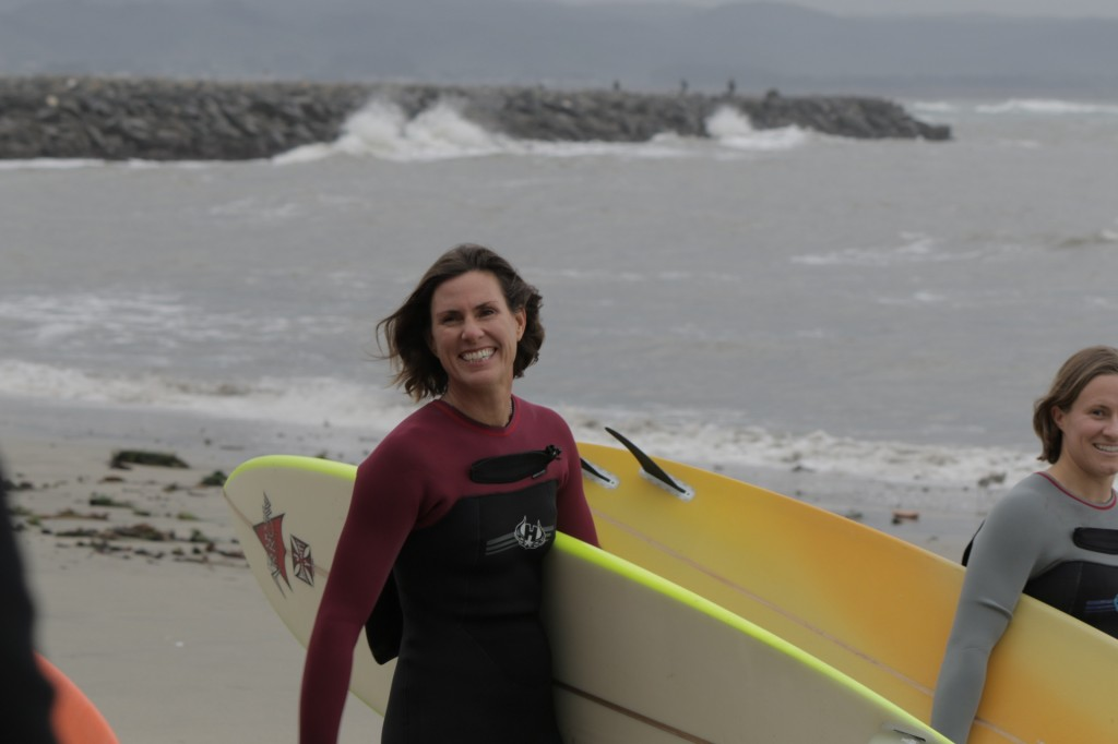 Sarah happy to share her favorite wave with the ladies of the Super Session. Photo Courtesy of the Wickr Foundation.