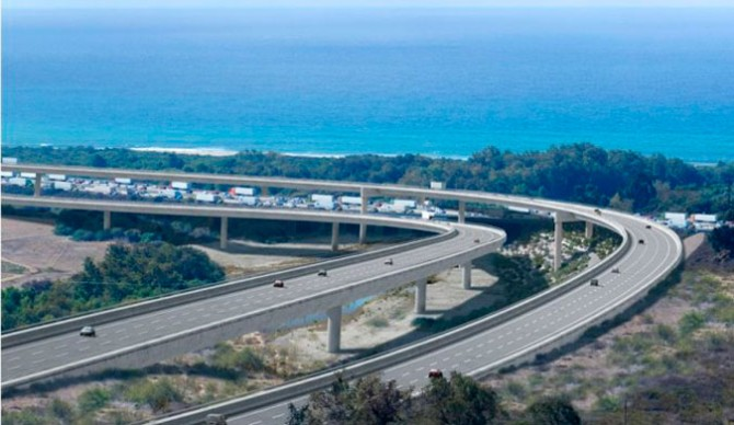 Artist's rendition of the toll road at Trestles.