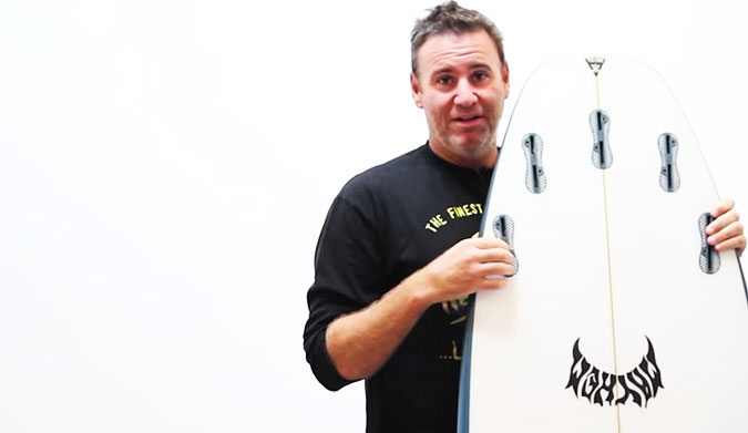 ...Lost Surfboards' Matt Biolos with the unreleased Puddle Jumper.