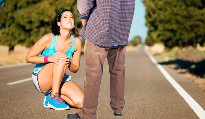If you run across a jogger with a sprained knee, it is not proper procedure to piss on them.
