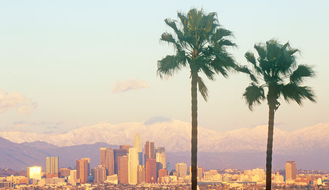 Los Angeles palms and snowy Mount Baldy. Photo: Shutterstock