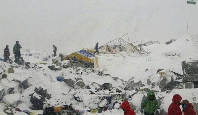 The devastation after an avalanche triggered by a massive earthquake swept across Basecamp, Photo: Azim Afif via AP
